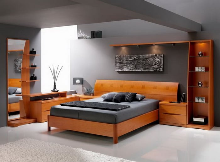 Moderena manzelska postel z masivu