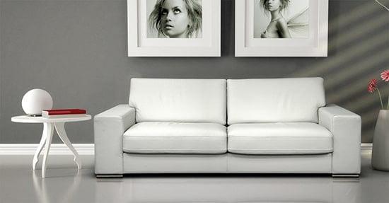Moderna kozena sedacia suprava - biela