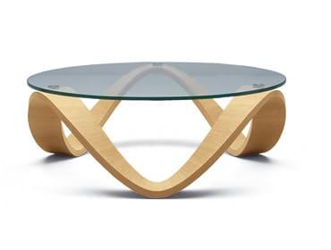 Moderny konferencny stolik - drevo-sklo