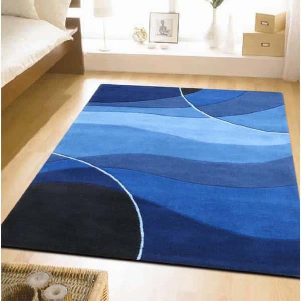Modry kusovy koberec