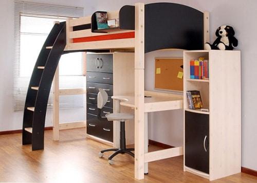 Poschodova postel s pracovnym stolom