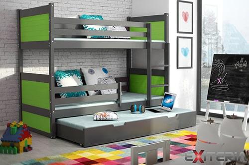 Moderná poschodová posteľ - borovica