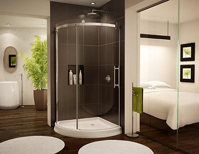 Moderný rohový sprchový kút