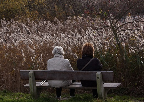 Dôchodcovia na lavičke