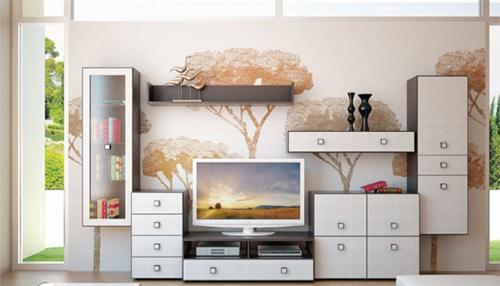 Obývacia stena s úložnými priestormi