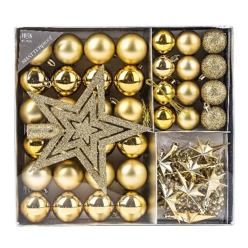 Sada vianočných ozdôb - zlatá