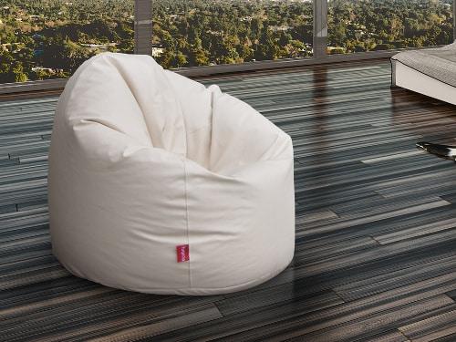 Biely moderný kožený sedací vak