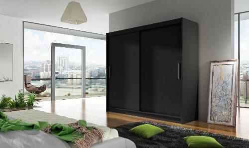 Čierna skriňa s posuvnými dverami