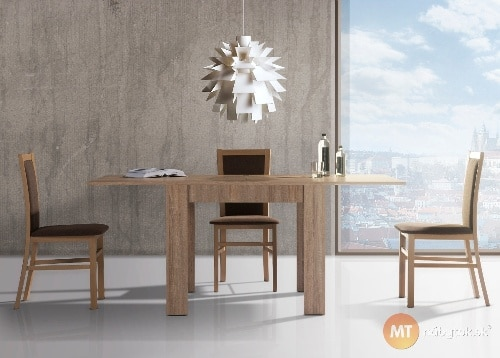 Moderný rozkladací jedálenský stôl a stoličky