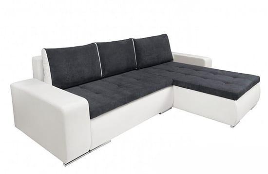 Rohová sedacia súprava bielo - sivá