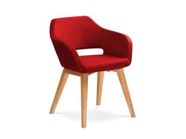 Červené čalúnené kancelárske kreslo