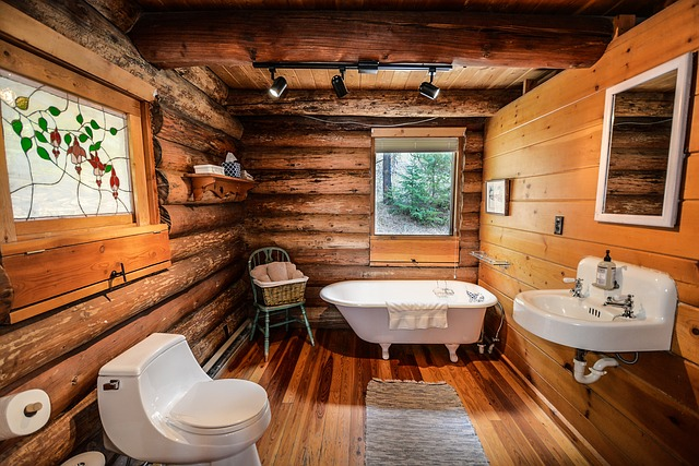 Kúpeľňa s dreveným obkladom